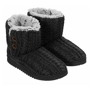 NEW Dearfoams Marled Cable Knit Boot Slippers S